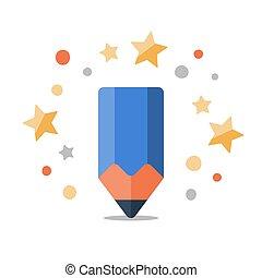 Creative pencil flat icon, creativity class, writing and...