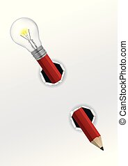 Creative Pencil with bulb. - Red Pencil with light bulb...