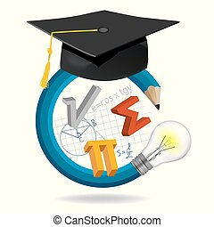 Creative pencil with Graduation cap and math symbols.