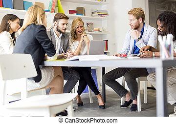 Creative people brainstorming in office