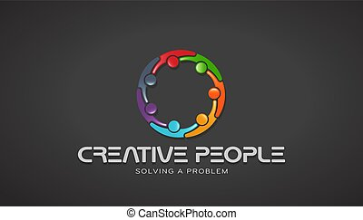 Creative People Together Brainstorming. Vector Design - ...