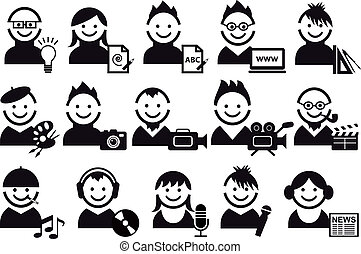 creative people, vector icons - creative people and artist...