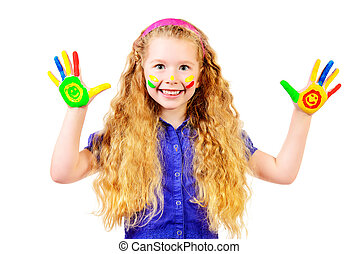 creative - Laughing little girl painted in bright colors....