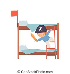 Creative Pirate Boy Character Playing Ship Made of Bunk Bed Cartoon Vector Illustration