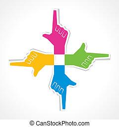 creative pointing hand sticker