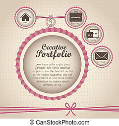 Illustration of creative portfolio. Portfolio with icons. Vector illustration