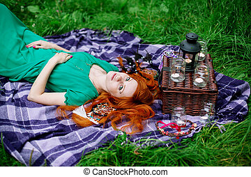 Creative portrait of red hair woman