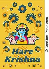 Creative poster illustration on Hare Krishna. Lord Krishna...