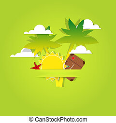 poster of paper palm trees, sun and clouds