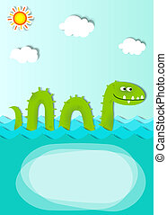 creative poster with sea monster - vector poster with sea...
