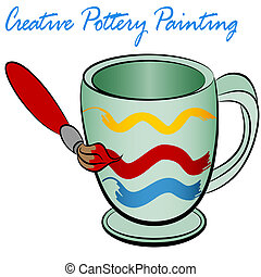 Creative Pottery Painting - An image of a ceramic cup being...