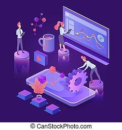 Creative process dark neon isometric vector illustration