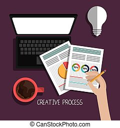 Creative process design with colorful icons