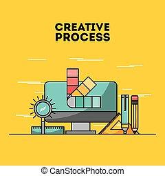 creative process flat illustration