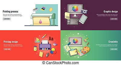 Creative process, graphic design or web design development banners set and printed materials vector illustration