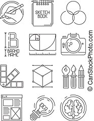 Creative process icons. Sketch design branding blogging graphic creative symbols of artists peoples vector illustrations