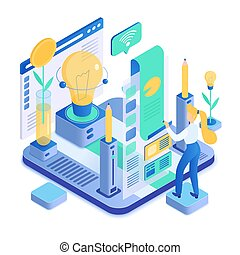 Creative process isometric vector illustration