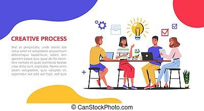 Creative process web banner concept. Business team