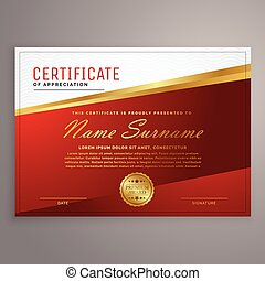 creative red and golden certificate design template