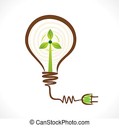 creative renewable energy concept wind mill in bulb vector