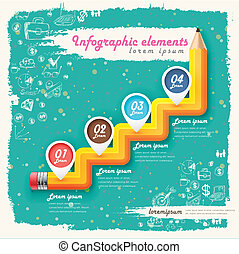 creative retro template with pencil stair flow chart
