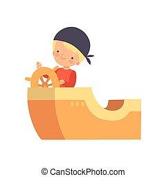 Creative Sailor Boy Character Playing Boat Made of Cardboard Boxes Cartoon Vector Illustration