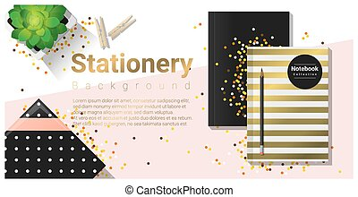 Creative scene with colorful stationery background 1