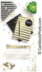 Creative scene with stationery on white background 1