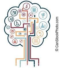 Creative school design with icons. EPS 10 vector...