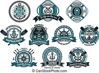 Creative seafarers or nautical logos and banners with rope,...