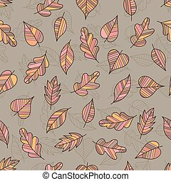 Creative Seamless Pattern of Pastel Leaves on Coffee-Colored Backdrop.