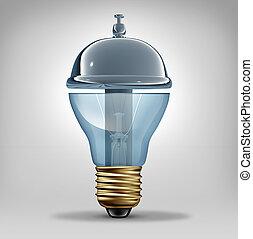 Creative services concept as a three dimensional lightbulb...