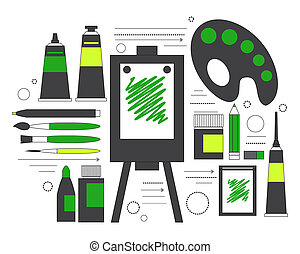 Creative set for artist. Ideas, creativity, design. Tools and materials paint, brushes, markers , pencil, easel, palette. Line art.