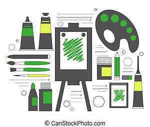 Creative set for artist. Ideas, creativity, design. Tools and materials paint, brushes, markers , pencil, easel, palette. Line art. Vector