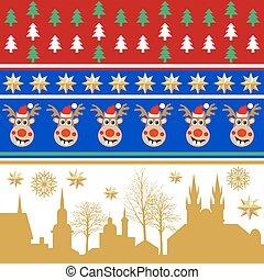Creative set of Christmas patterns. Trees, golden stars, winter city landscape.