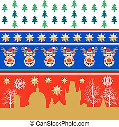 Creative set of Christmas patterns. Trees, golden stars, winter city landscape.