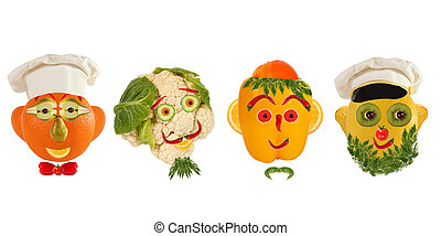Creative set of food concept. A few funny portraits from...
