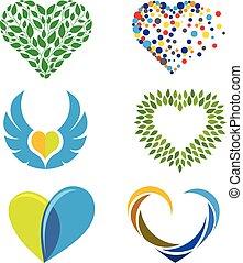 love colorful vector logo set