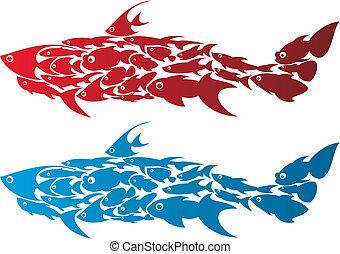 creative shark - shark,made up of fishes