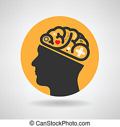 Creative silhouette head brain Idea concept background...