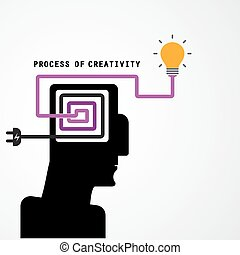 Creative silhouette head symbol and process of creativity concept on background