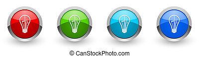 Creative silver metallic glossy icons, idea, bulb, circuit concept set of modern design buttons for web, internet and mobile applications in four colors options isolated on white background