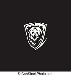 creative simple bear face logo vector