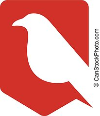 simple bird shield logo vector