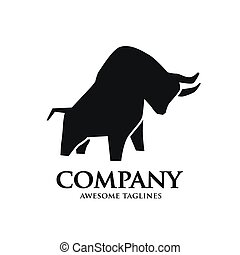 simple bull strong silhouette logo