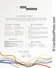 creative simple cv template with colorful lines at the footer - Simple Cv Template