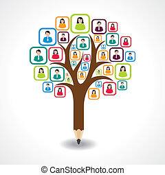 creative social people tree design