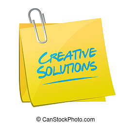 creative solutions note sign concept