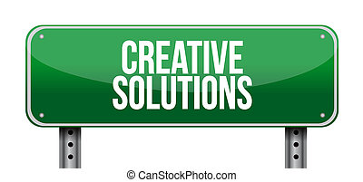 creative solutions road sign concept