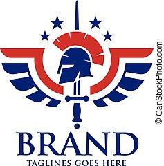creative spartan helmet, wings, stars and sword logo